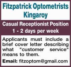 Fitzpatrick Optometrists Kingaroy   Casual Receptionist Position   1 - 2 days per week ...