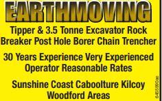 Tipper & 3.5 Tonne Excavator Rock   Breaker Post Hole Borer Chain Trencher    ...
