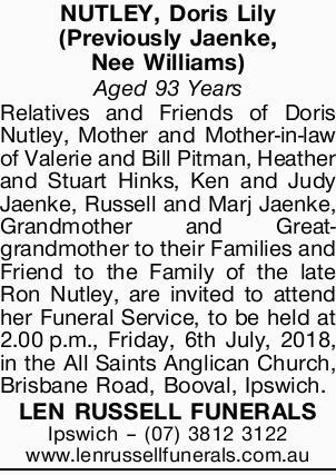 NUTLEY, Doris Lily (Previously Jaenke, Nee Williams