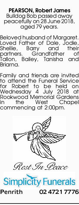 PEARSON, Robert James | Funeral Notices | Sydney | Ballina
