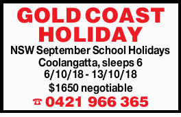NSW September School Holidays   Coolangatta 6th-13th Oct 18   2 weeks available, sleeps 6...