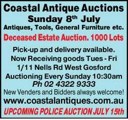 Sunday 8th July   Antiques   Tools   General Furniture etc.   Deceased Estate Auc...