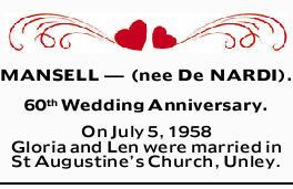 MANSELL _ (nee De NARDI).    60th Wedding Anniversary.    On July 5, 1958 Gloria and Len...