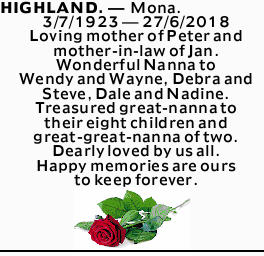 HIGHLAND. _ Mona. 3/7/1923 _ 27/6/2018