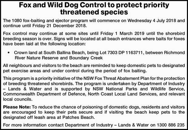 Fox and Wild Dog Control to protect priority threatened species    The 1080 fox-baiting and...