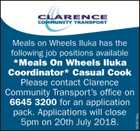 * Meals On Wheels Iluka Coordinator * Casual Cook