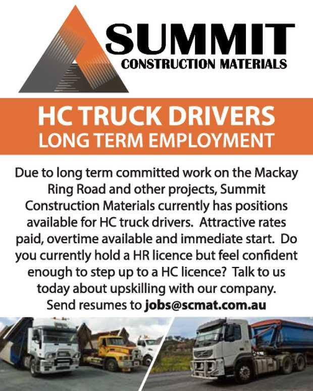 SUMMIT CONSTRUCTION MATERIALS    HC TRUCK DRIVERS LONG TERM EMPLOYMENT    Due to long...