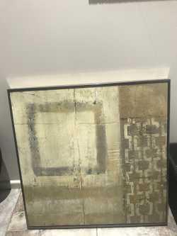Soft gold framed. Creams golds abstract design Elegant 50cmx50 cm