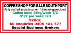 Fully staffed, great location, full training provided. Coffee sales 35kg/week T/O $17k per week T...