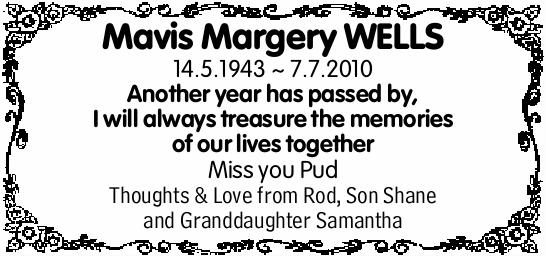 Mavis Margery WELLS