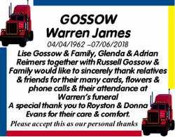 GOSSOW Warren James  04/04/1962 ~07/06/2018  Lise Gossow & Family, Glenda &...