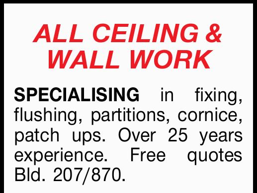 ALLCEILING & WALLWORK SPECIALISING in fixing, flushing, partitions, cornice, patch ups. Over...