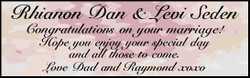Rhianon Dan & Levi Seden    Congratulations on your marriage!   Hope you enjoy your s...