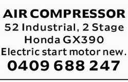 52 Industrial, 2 Stage   Honda GX390   Electric start motor new.