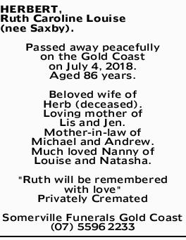 HERBERT, Ruth Carolina Louise (nee Saxby).
