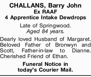 CHALLANS, Barry John