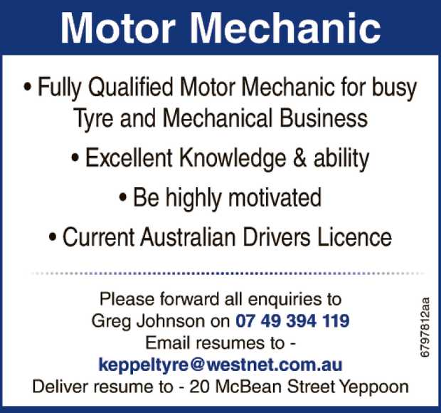 * Fully Qualified Motor Mechanic for busy Tyre and Mechanical Business  * Excellent kno...