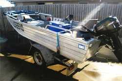 13ft tinny,  reg.  15hp Mercury,  tilt trailer,  sounder,  safety ge...