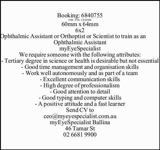 Receptionist/ Senior Receptionist  Required in Ballina for busy Eye Clinic and Day Hospital ...