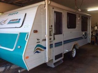 <p> 17ft, A/C, 3 way fridge, gas stove, island bed, battery, electric brakes, full annex, VGC &...