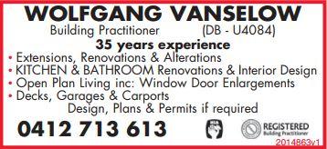 Wolfgang Vanselow   Building Practioner (DB-U4084)   35 Years Experience   Extensions...