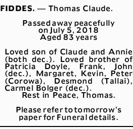 Obituaries, Funeral and Death Notices in Gold Coast   Gold Coast