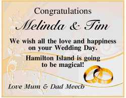 Congratulations Melinda & Tim   We wish all the love and happiness on your Wedding Day. ...