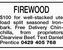 FIREWOOD $100 for well-stacked ute load split seasoned Ironbark.