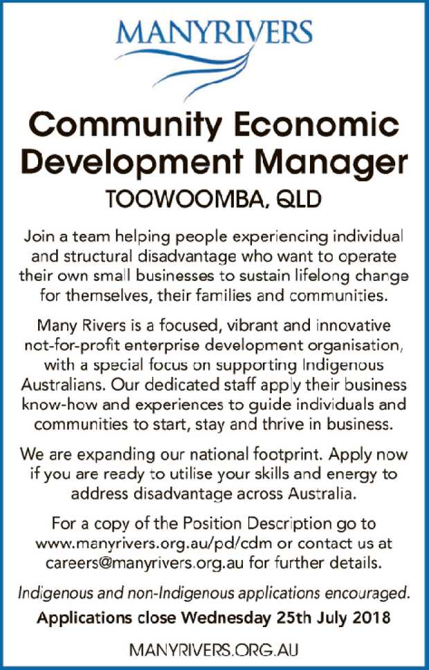 Community Economic Development Manager Toowoomba, QLD   Join a team helping people experienci...