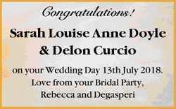 Congratulations!    Sarah Louise Anne Doyle & Delon Curcio   on your Wedding Day 13th...