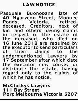 LAW NOTICE   Pasquale Buonopane late of 40 Ngarveno Street, Moone Ponds, Victoria, retired, d...