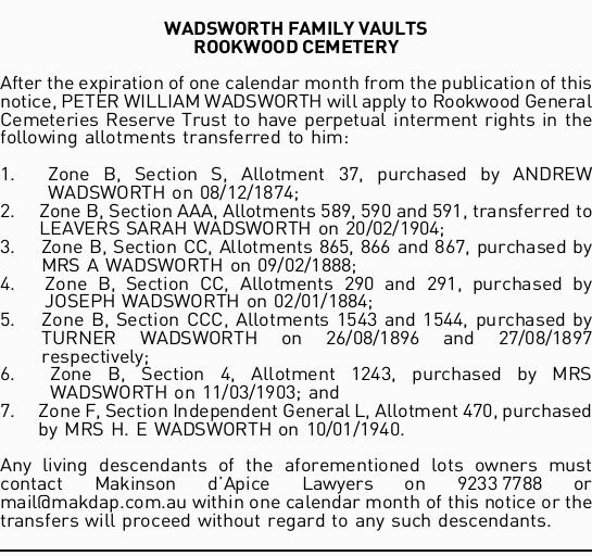 WADSWORTH FAMILY VAULTS ROOKWOOD CEMETERY   After the expiration of one calendar month from t...