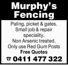 <p> Murphy's Fencing </p> <p> Paling </p> <p> Picket & gates. </p> <p> Small job...</p>