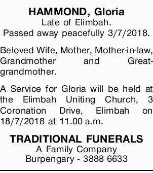 Browsing Funeral Notices | Sunshine Coast Classifieds | Sunshine