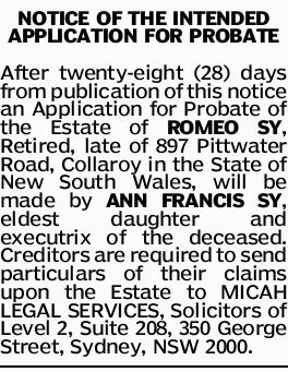 NOTICE OF THE INTENDED APPLICATION FOR PROBATE After twenty-eight (28) days from publication of t...