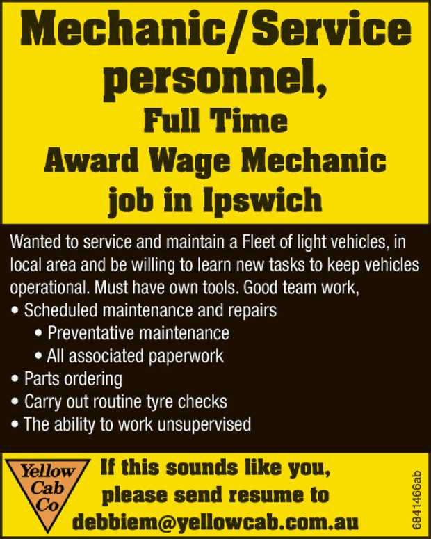 Mechanic / Service personnel   Full Time Award Wage Mechanic job in Ipswich Wanted to service...