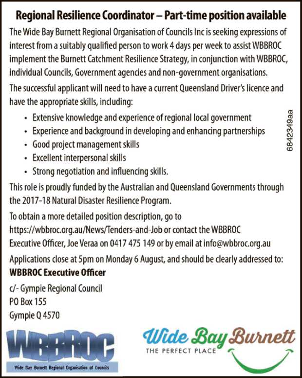 The Wide Bay Burnett Regional Organisation of Councils Inc is seeking expressions of interest fro...
