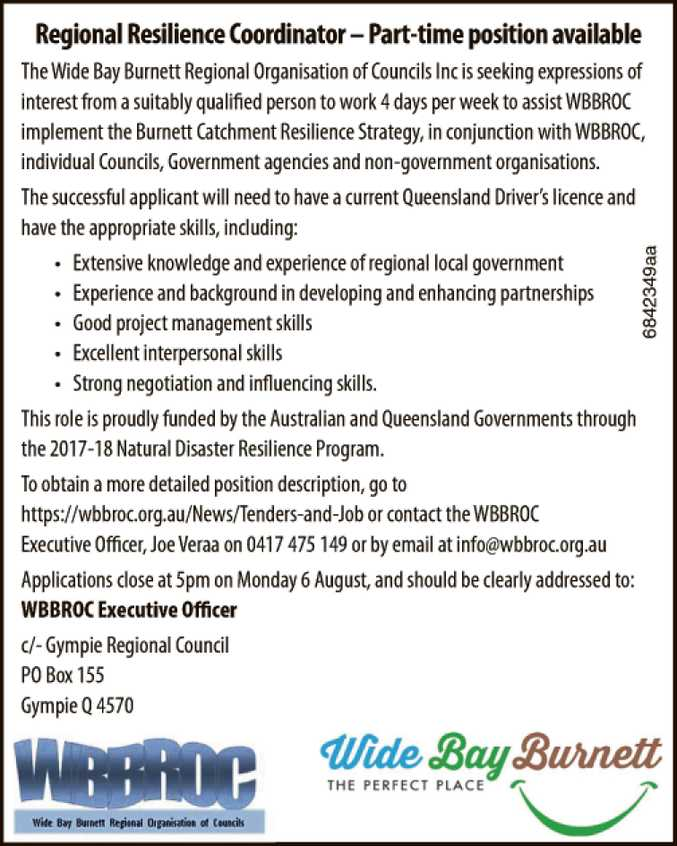 Regional Resilience Coordinator – Part-time position available
