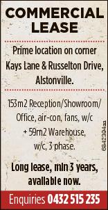 COMMERCIAL LEASE   Prime location on corner Kays Lane & Russelton Drive, Alstonville.  ...