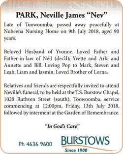 "PARK, Neville James ""Nev"" Late of Toowoomba, passed away peacefully at Nubeena Nursin..."