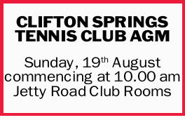 CLIFTON SPRINGS TENNIS CLUB AGM