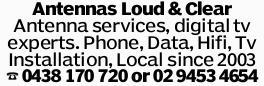 Antennas Loud & Clear Antenna services, digital tv experts. Phone, Data, Hifi, Tv Installatio...