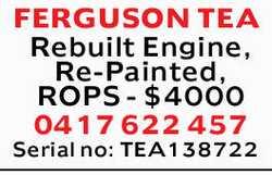 FERGUSON TEA    Rebuilt Engine  Re-Painted  ROPS  $4000  Serial no: TE...