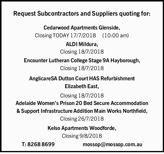 Request Subcontractors and Suppliers quoting for: Cedarwood Apartments Glenside, Closing TODAY 17...
