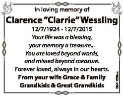 In loving memory of 12/7/1924 - 12/7/2015 Your life was a blessing, your memory a treasure... You ar...