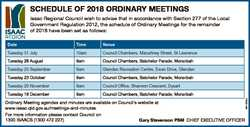 SCHEDULE OF 2018 ORDINARY MEETINGS Date Time Venue Tuesday 31 July 10am Council Chambers, Macartney...