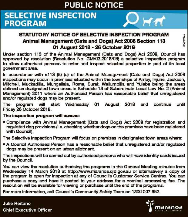 Animal Management (Cats and Dogs) Act 2008 Section 113 01 August 2018 - 26 October 2018 6843201aa...