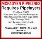 MCFADYEN PIPELINES Requires Pipelayers