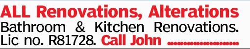ALL Renovations, Alterations Bathroom & Kitchen Renovations.   Lic no. R81728.