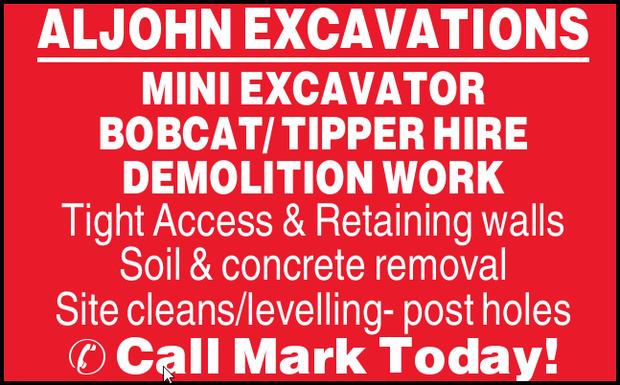 MINI EXCAVATOR  BOBCAT/ TIPPER HIRE  DEMOLITION WORK  Tight Access  Retai...